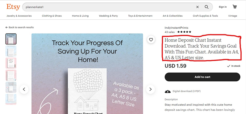 Home deposit chart instant download