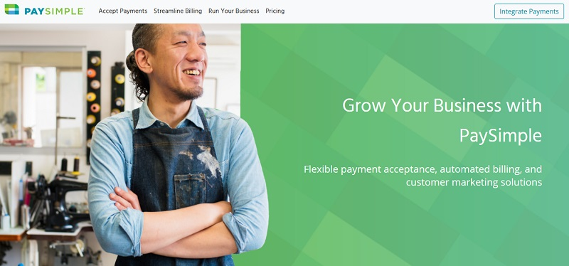PaySimple homepage_