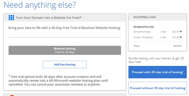 Bluehost additional services