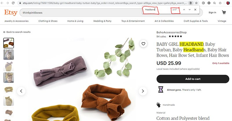 Etsy on-page keywords
