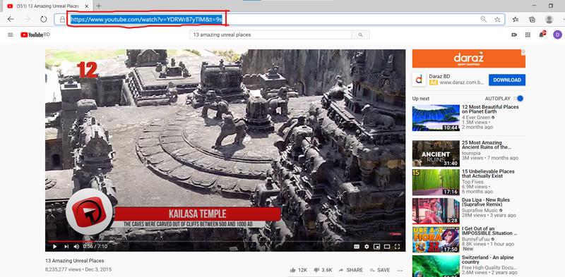 Copy video URL