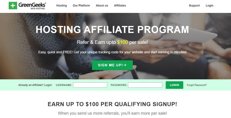 GreenGeeks affiliate program