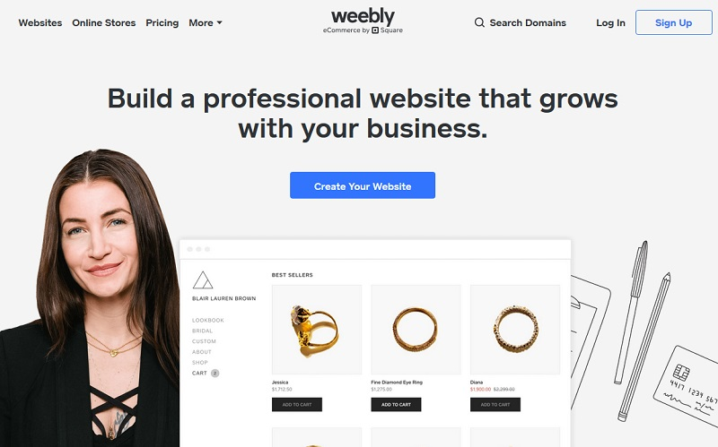 Weebly homepage