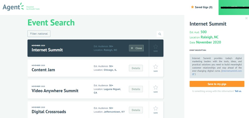 agent event search for influencers