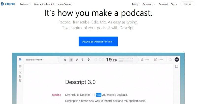 descript editing your podcast