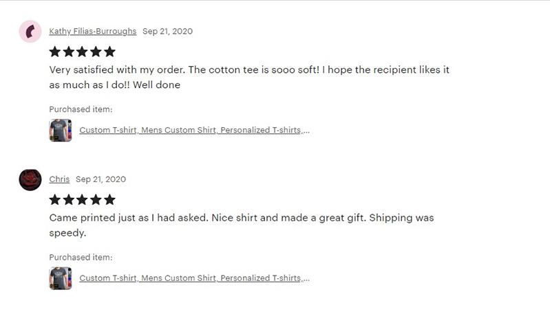 Etsy customer reviews