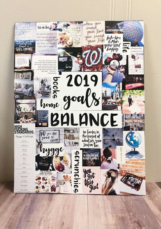 Vision board that uses pictures, words, and art to express the desires