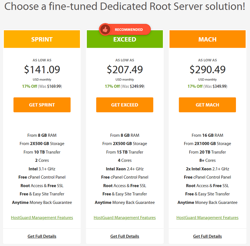 A2hosting - homepage - fine-tuned dedicated root server pricing