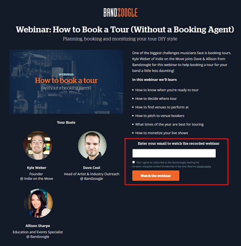 collect webinar lead on landing page