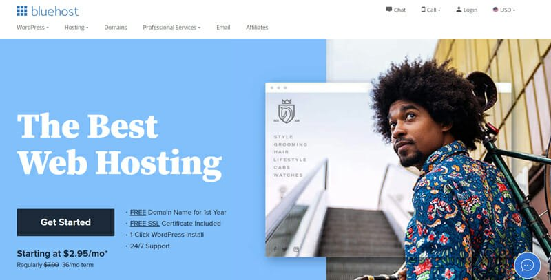 Bluehost best choice for web hosting and getting a free domain name