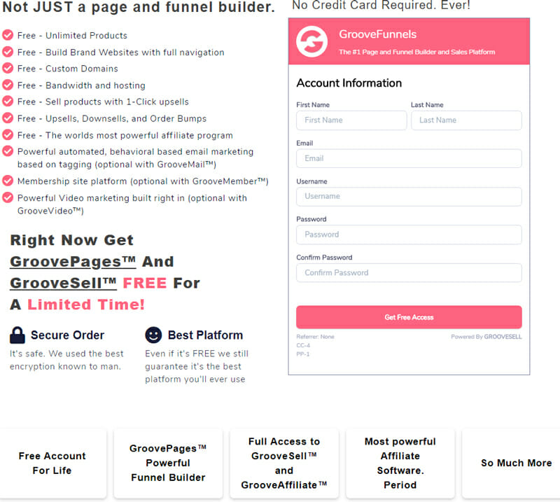 Free unlimited product funnels