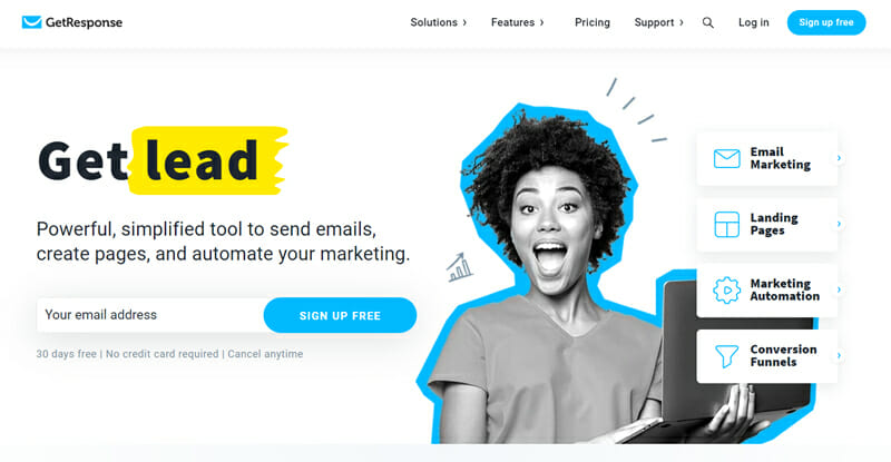 GetResponse The Most Powerful Tool to Send Emails, Create Pages, and Automate your Marketing.