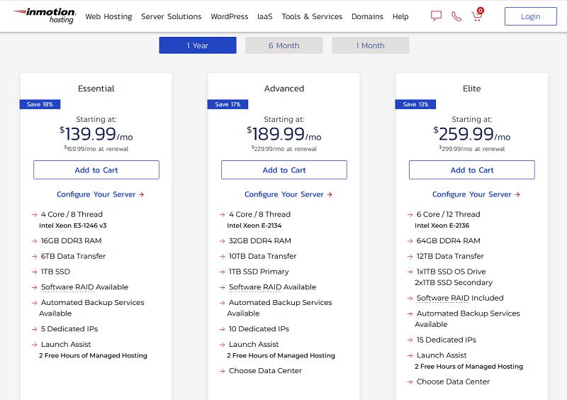 Inmotion hosting - Managed Dedicated Server Hosting - pricing