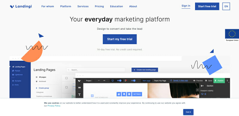 Landingi Fully Featured Marketing Platform to Run Successful Campaigns and Convert with Your Designs.
