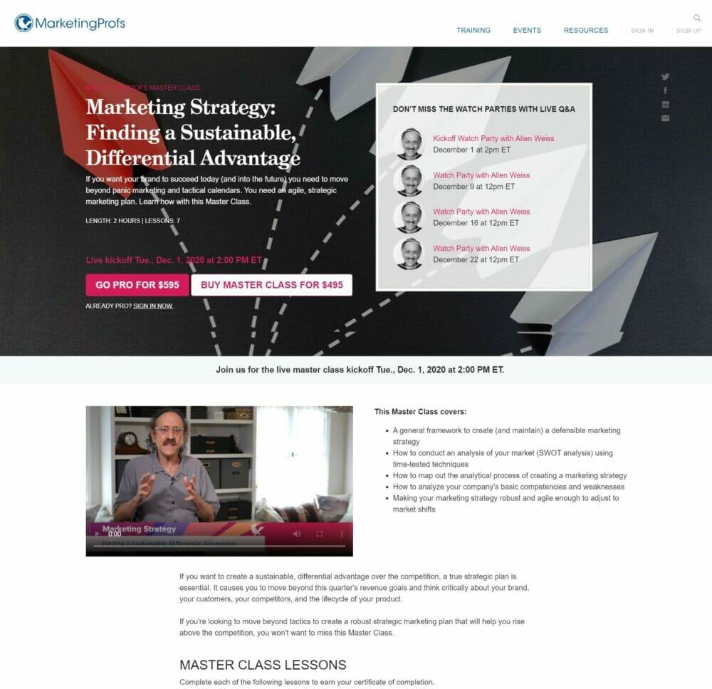 MarketingProfs has a good example of a long webinar landing page