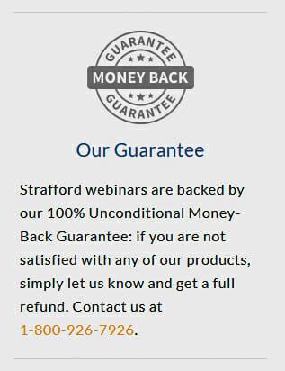 Money back guarantee of strafford webinars