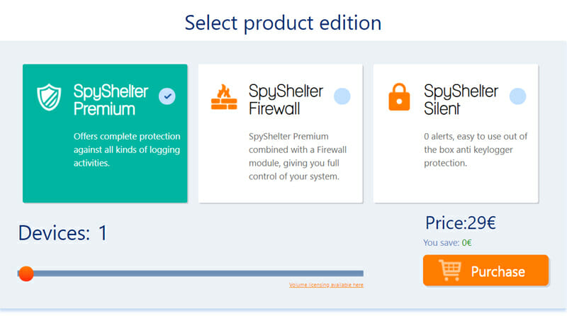 Pricing of Spyshelter