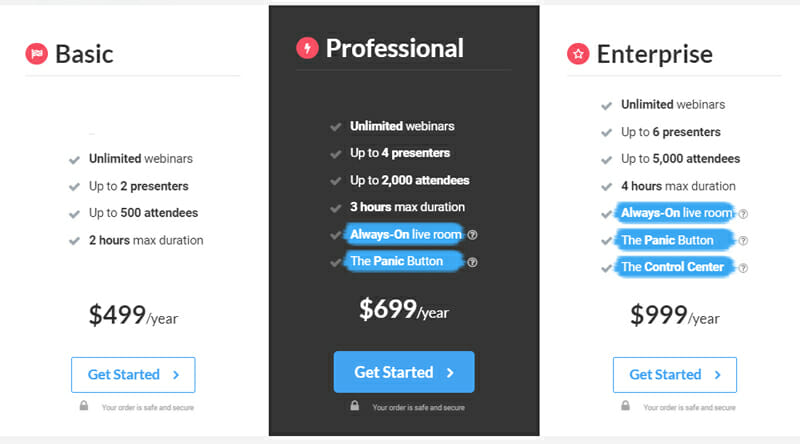 Pricing of webinarjam