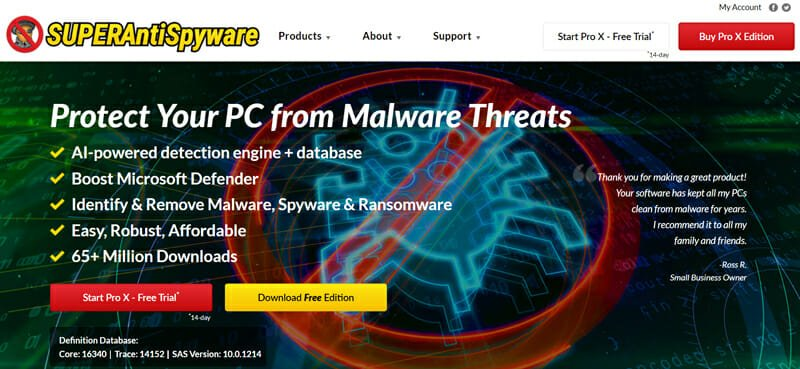 SuperAntiSpyware Best Spyware Software Download for Removing Spyware, Malware, and Ransomware.