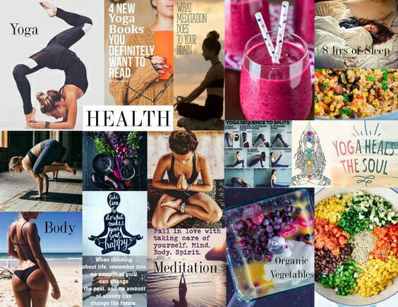 Vision board to express desire to live healthy