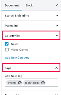 adding tags and post categories