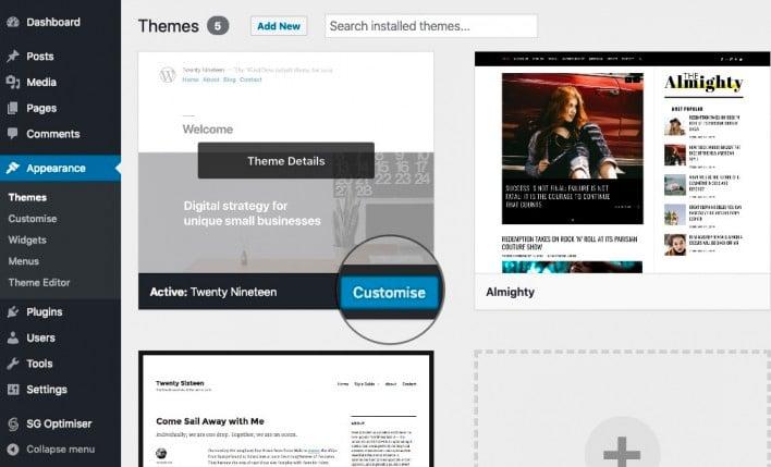 Customize the WordPress theme appearance
