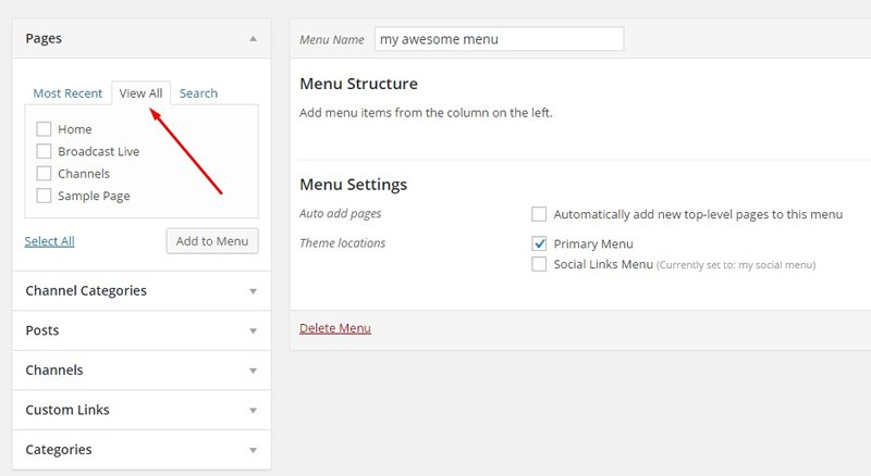 menu structure setting