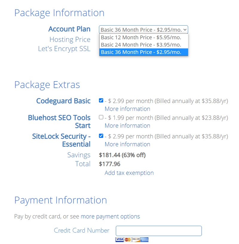 Select hosting plan and extras