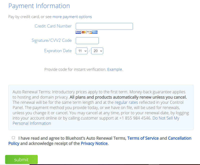 enter your payment information on bluehost