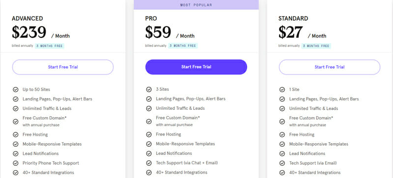 pricing plans of LeadPages