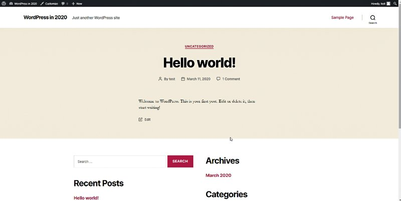 hello world page after you've created your first website
