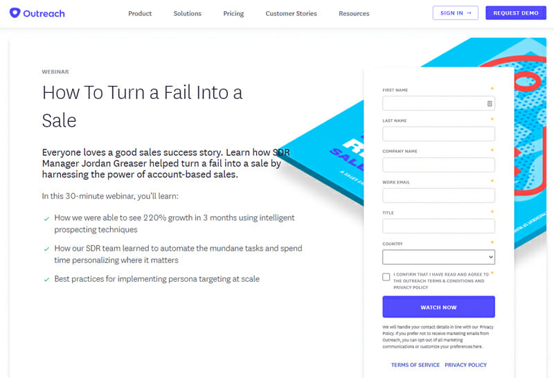The Outreach landing page for their webinar on how to turn a fail into a sale.