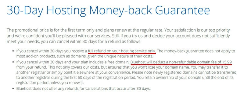 30 day hosting money-back guarantee by Bluehost