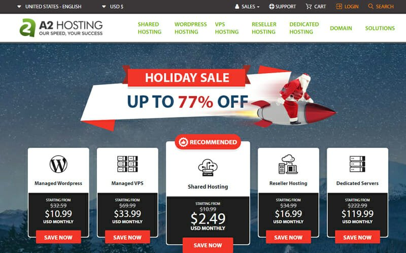A2 Hosting Best Bluehost alternative for small businesses that require fast loading websites.