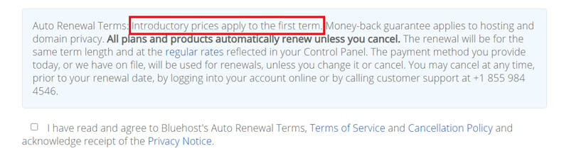 Auto renewal terms of Bluehost