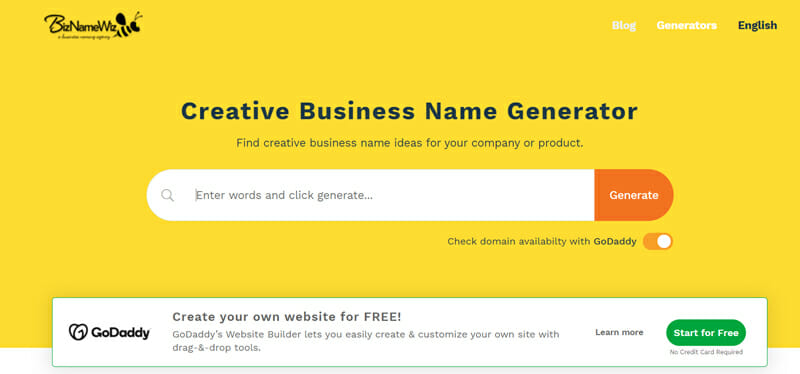 BizNameWiz Best business name generator to find a personalized name for your small business.