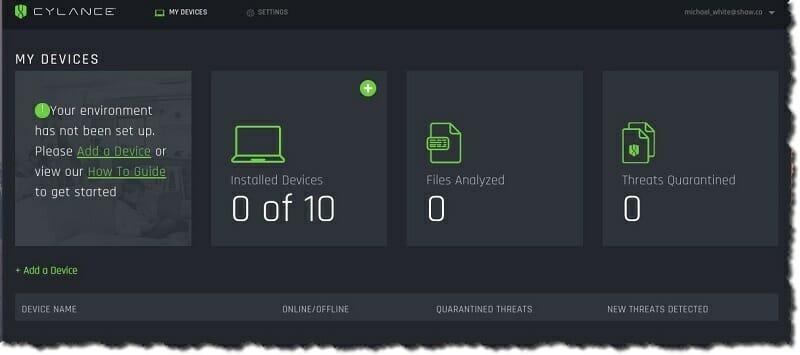 Cylance Smart Antivirus - My devices