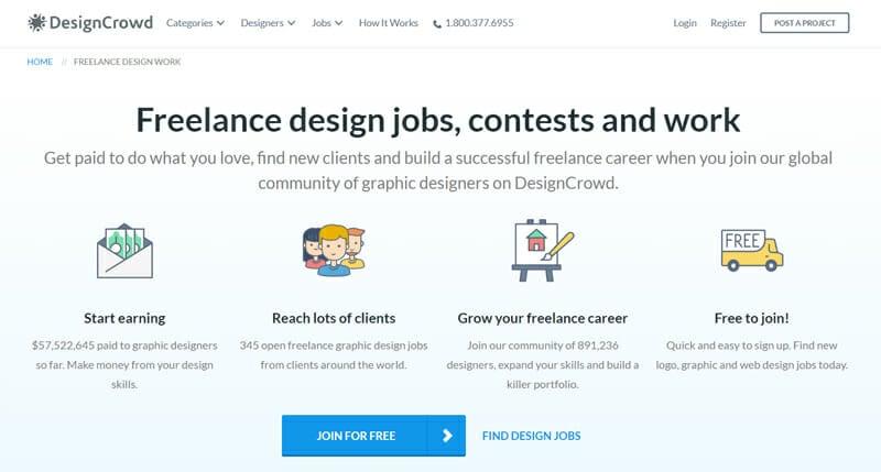 DesignCrowd Best freelance job website to find freelance designer jobs