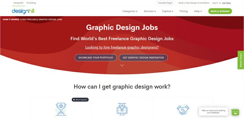 Designhill Best Freelance job website with a variety of opportunities for freelance design work