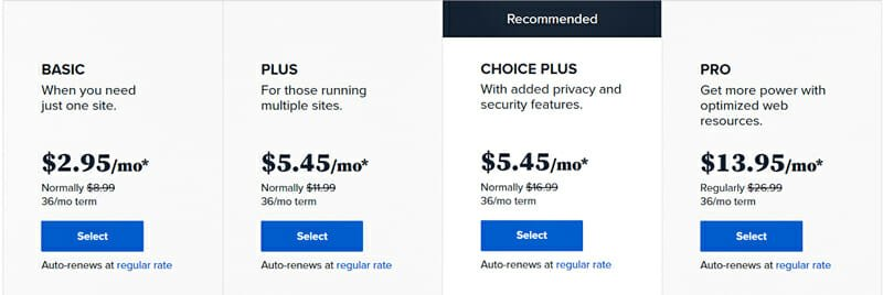 Different pricing plans for hosting on Bluehost