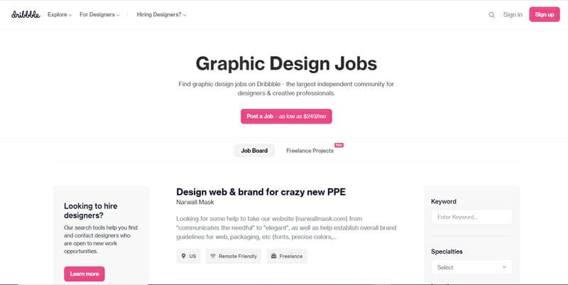 Dribble Best freelance job board for freelance design gigs