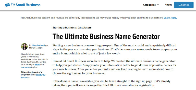 Fit Small Business Best business name checker to find a distinctive name for your company.