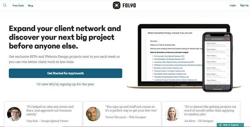 Folyo Best referral newsletter with a collection of the best freelance design jobs in the market