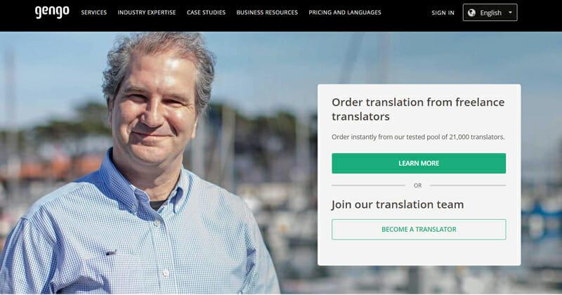 Gengo Best online platform that allows translators to find remote work.