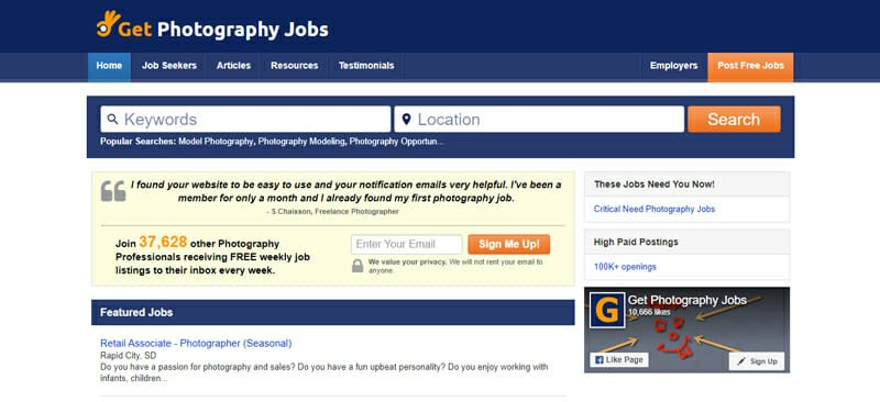 GetPhotographyJobs Best job board offering freelance photography work in the US.