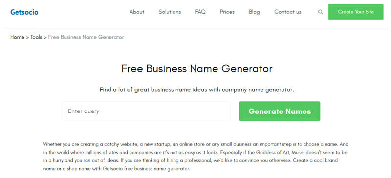 Getsocio Best business name generator to get a memorable name for your small business.