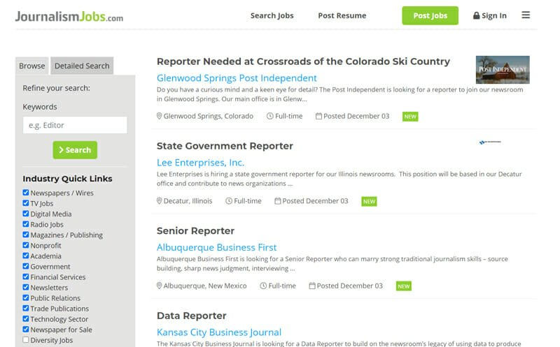 JournalismJobs Best freelance job board for freelance writing and writing related jobs.