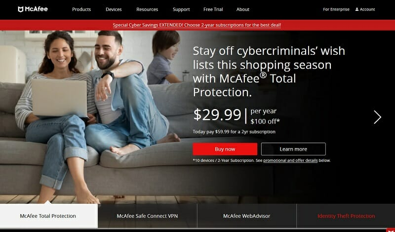 McAfee - Total Antivirus, Identity, Privacy, VPN, and ID Theft Protection.