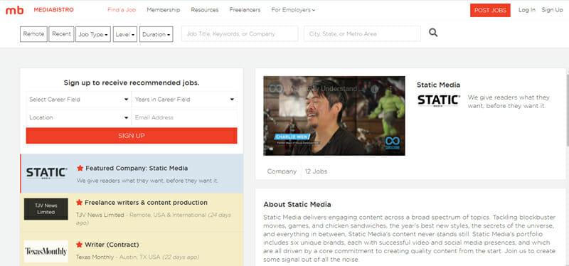 Mediabistro Best freelance job board for remote and freelance jobs.