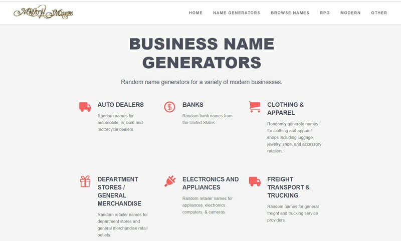 Mithril and Mages Best business name finder to get business name ideas for your company.